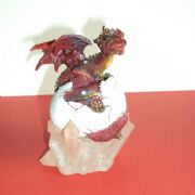 10cm RED DRAGON IN EGG ON CRYSTAL BASE